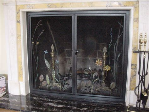 replacement fireplace spark screen on custom fireplace