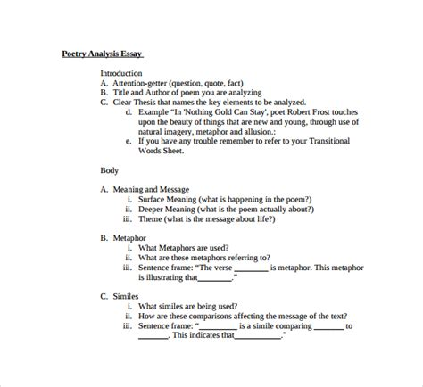 sle poetry s analysis template 6 free documents in pdf