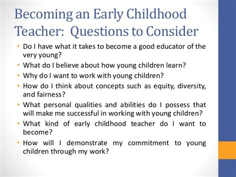 Early Childhood Education Questions Reflective Teaching