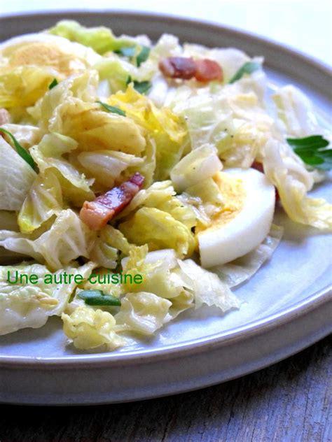 cuisine chou chinois salade de chou chinois aux lardons sauce moutarde une