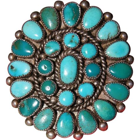 Turqoise L by Vintage Zuni Turquoise Cluster Ring From Uchizonogallery