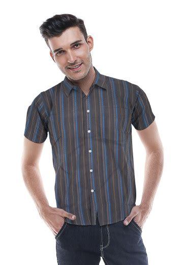 Ss Kemeja Hitam Pakaian Kemeja Slim Fit Pria slim fit kemeja formal hitam garis biru