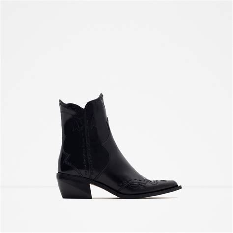 zara flat leather cowboy ankle boots in black lyst