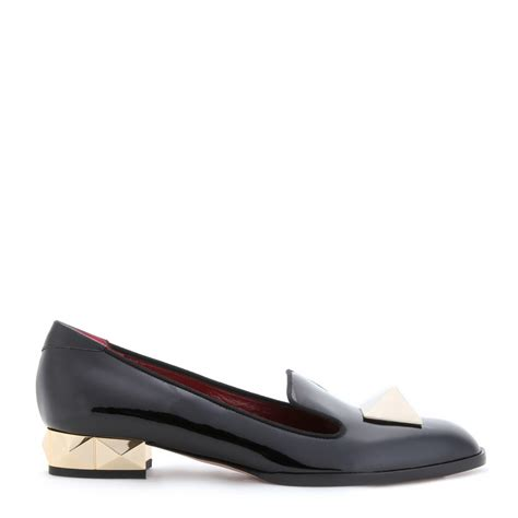 black slipper loafers valentino rockstud slipper style patent leather loafers in