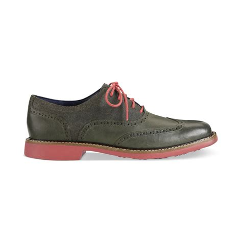 Sandal Merk Cole Uk 42 lyst cole haan great jones wingtip lace shoes in green