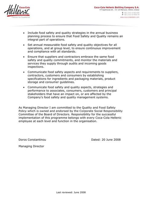 food safety policy template quality and food safety policy statement for free