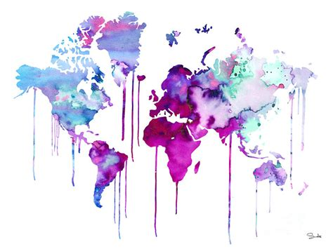 water color map blue purple watercolor map painting by watercolor