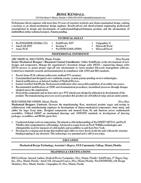 Resume Exles Engineering Mechanical Engineering Resume Exle
