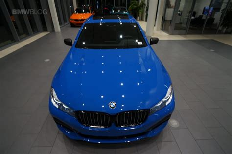 one of a bmw 740i gets dressed up in santorini blue