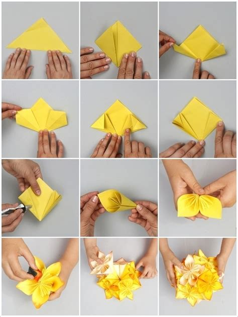 How To Make Colored Paper Flowers - diy origami flower project home design garden