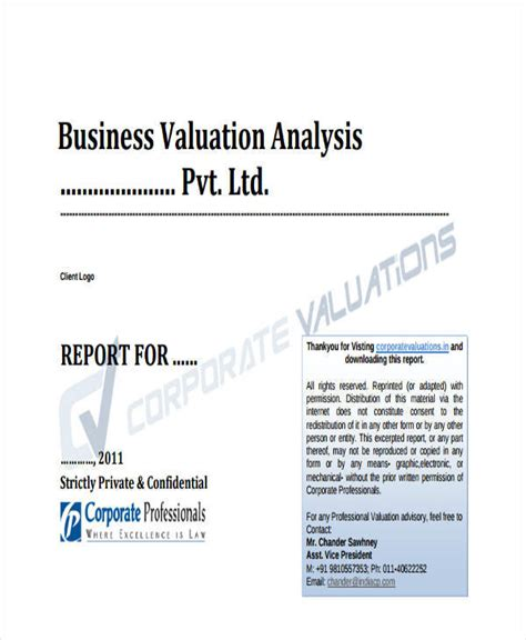 business value assessment template 5 sle business valuation report exles in word pdf