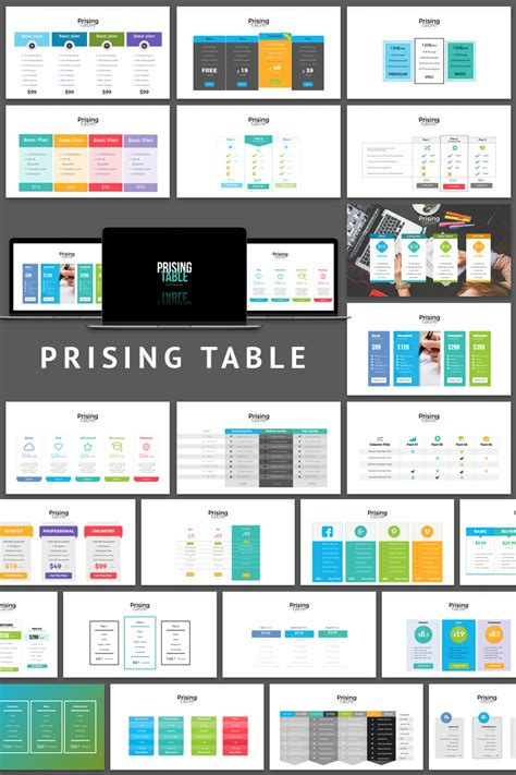 table layout and presentation pricing table presentation powerpoint template 65109