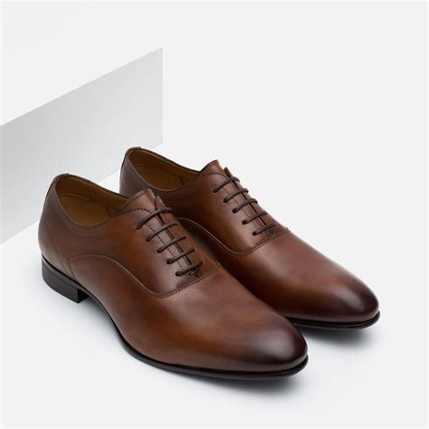 zara shoes zara classic leather oxford shoes in brown for lyst