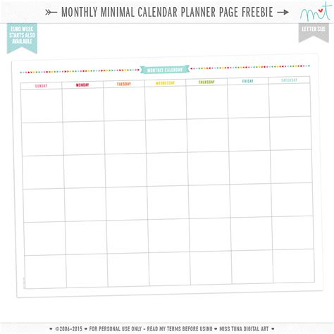 free printable planner tumblr free monthly minimal calendar planner page printables