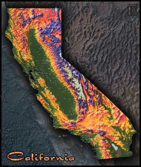 topo map of california colorful california map topographical physical landscape