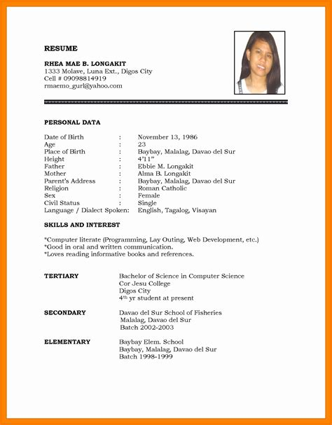 biodata format in word for job 13 fresh marriage resume format word file resume sle