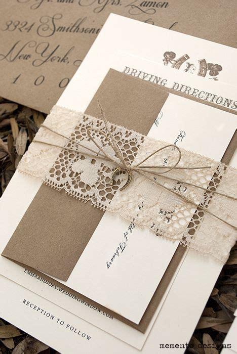 twine wedding invitations sydney vintage lace and twine wedding invitation with horseshoe