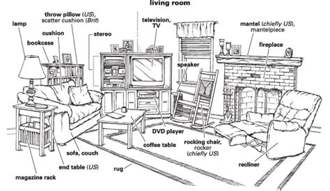 living room in language living room things vocabulary