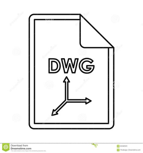 eps format to dwg dwg file extension icon outline style stock vector