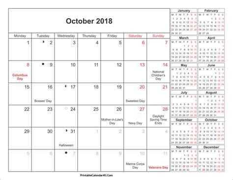 printable holiday planner 2018 october 2018 calendar printable with holidays pdf and jpg