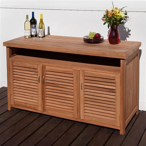 Outdoor Serving Buffet Table Teak Outdoor Buffet With Storage Outdoor