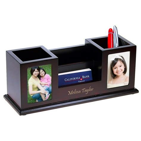 Multi Function Desk Organizer With Twin Photo Frames Photo Desk Organizer