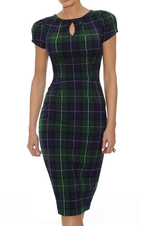 paid dress plaid dress green navy blue autumn colours