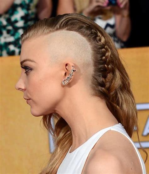 haircut shaving games natalie dormer debuts half shaved head at sag awards ny