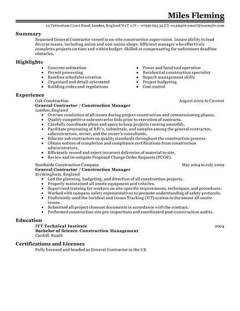 General Contractor Resume Examples   Construction Resume
