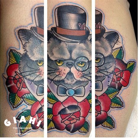 tattoo old school cat fat clever cat old school tattoo by elda bernardes best