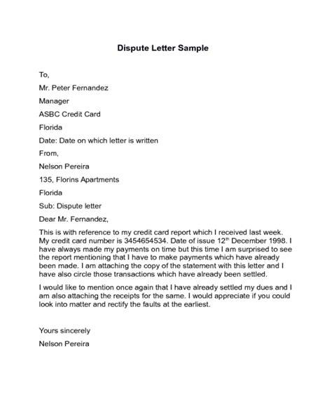 dispute letter templates fillable printable