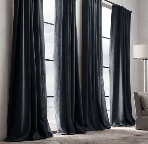 black linen drapes restoration hardware belgian textured linen french pleat