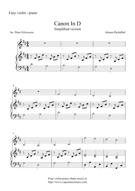printable canon in d sheet music canon in d simplified version free violin and piano