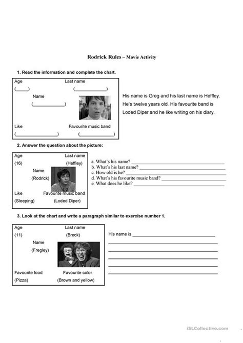 Diary of a Wimpy Kid-Rodrick Rules worksheet - Free ESL