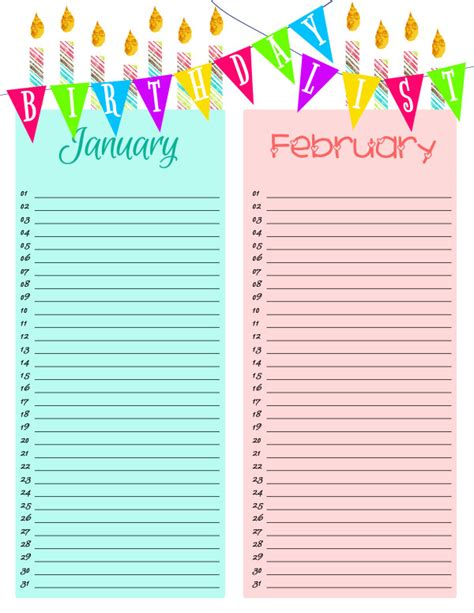 Printable Birthday Card List | primary printables birthday lists lds primary young