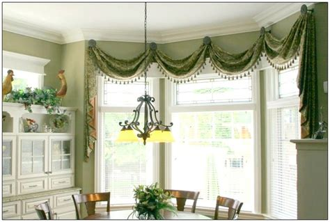 swag curtains for bay windows swag with medallions home decorating pinterest