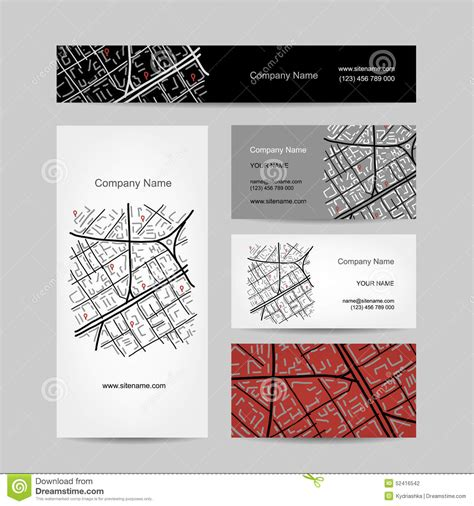 business card template for sketch sketch of city map business card design stock vector