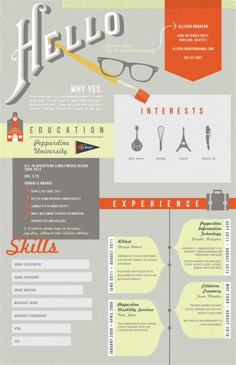 Resume Graphic Design Infographic 30 Exles Of Creative Graphic Design Resumes Infographics Photo