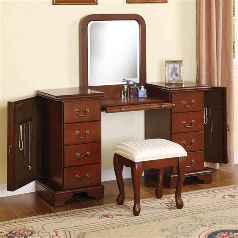 armoire vanity 3 pc louis phillipe vanity makeup set w jewelry storage