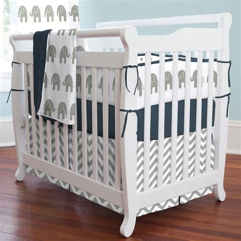 Mini Crib Bedding Set Boys Navy And Gray Elephants Mini Crib Blanket Carousel Designs