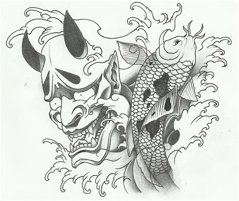 hannya mask tattoo koi fish hannya mask koi fish tattoo by dillongetwhittit on deviantart