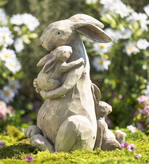 momma and baby bunnies garden statue garden statues