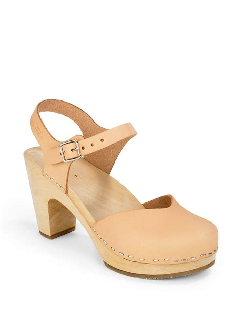 swedish clog sandals swedish hasbeens covered high wood clog sandals in
