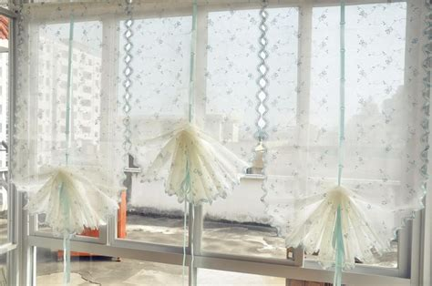 Sheer Balloon Curtains Country Style Embroidered Blue Roses Balloon Shade Sheer Voile Curtain E18 Ebay