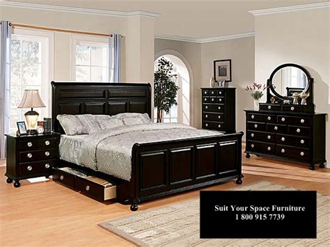 amherst black bedroom furniture set king storage bed