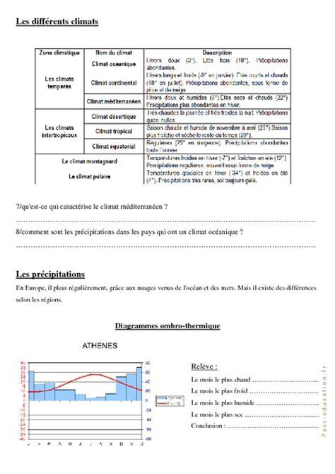 diagramme ombrothermique exercice corrigé pdf le climat europ 233 en cm1 cm2 exercices g 233 ographie cycle