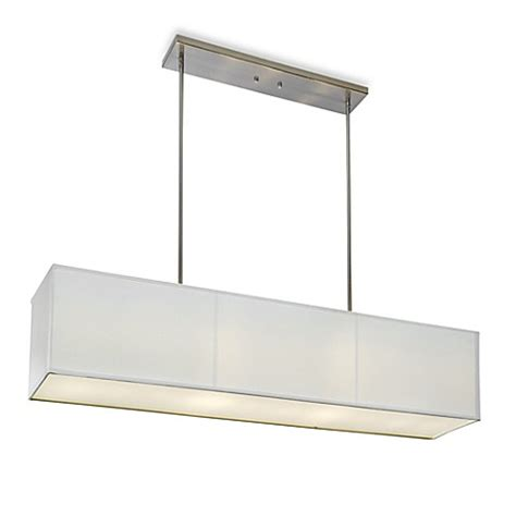 Rectangular Drum Pendant Light Buy Sharper Image 174 Rectangular Pendant L With White Linen Shade From Bed Bath Beyond