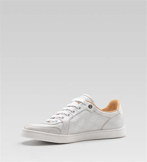 white sneakers gucci coda low lace up sneaker in white leather