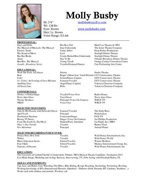 musical theater resume sle musical theatre resume exles exles of resumes