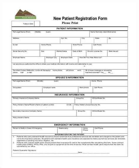 new patient registration form template registration form templates